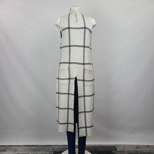 Tahari White Geometric Knit Long Top Size L